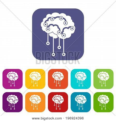 Sensors on human brain icons set vector illustration in flat style in colors red, blue, green, and other