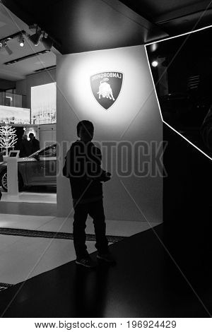 BERLIN - MAY 02 2015: Showroom. The stand of the manufacturer expensive luxury supercars - Lamborghini. Black and white.