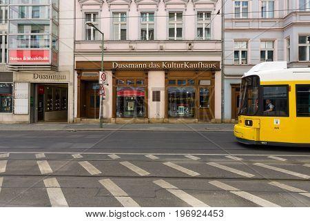 BERLIN - MAY 02 2015: The largest bookstore in Berlin - Dussmann (Dussmann das KulturKaufhaus).
