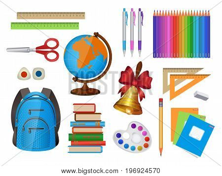 Set of school items - backpack, pen, pencil, ruler, globe, books, notebooks and many others, cartoon vector illustration isolated on white background. Set of isolated cartoon school items