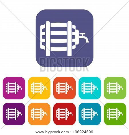 Wooden barrel with tap icons set vector illustration in flat style in colors red, blue, green, and other
