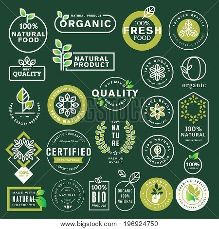 Organic food and drink icons and elements set. Vector illustrations for restaurant, food market, e-commerce, organic products promotion, healthy life and premium quality food and drink.