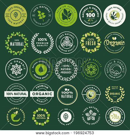 Organic food and drink labels and elements set. Vector illustrations for restaurant, food market, e-commerce, organic products promotion, healthy life and premium quality food and drink.