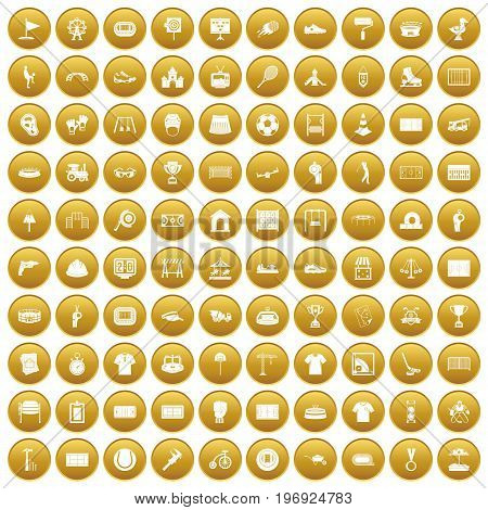 100 playground icons set in gold circle isolated on white vector illustration
