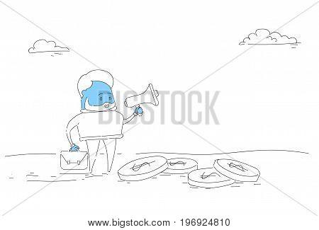 Abstract Business Man Hold Megaphone Loudspeaker Digital Marketing Strategy Concept Vector Illustration