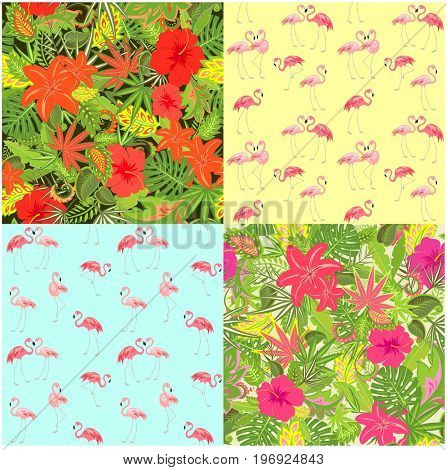 Fashion summery wallpapers with exotic flowers, tropical leaves and flamingo, seamless background for fabric, textile, wrapping paper, greeting card, invitation, wallpaper, web design