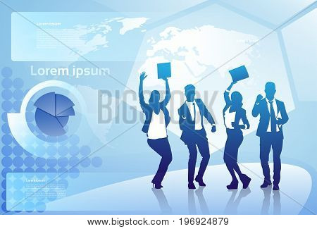 Cheerful Group Of Business People Silhouette Happy Raised Arms Over World Map Background Successful Businesspeople Team Concept Vector Illustration