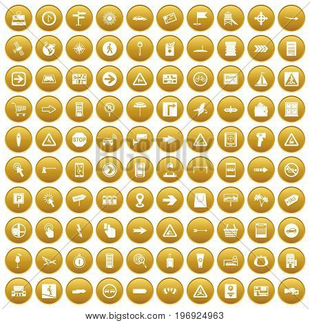 100 pointers icons set in gold circle isolated on white vector illustration