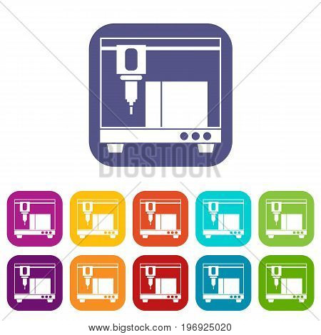 3D printer icons set vector illustration in flat style in colors red, blue, green, and other