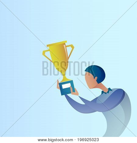 Abstract Business Man Hold Prize Winner Cup, Success Concept Vector Illustration
