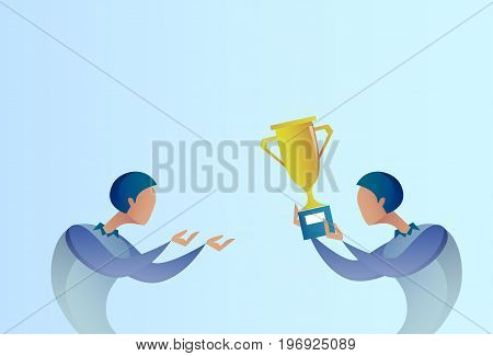 Abstract Business Man Giving Golden Cup Prize To Winner, Success Concept Vector Illustration
