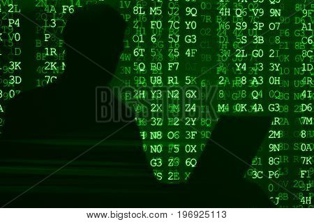 Silhouette Of A Man Working For A Laptop Hacker 3D Illustration