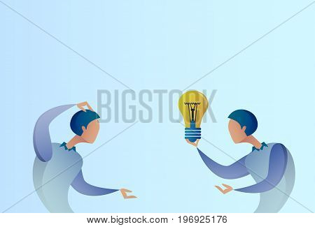 Abstract Business Man Giving Colleague New Creative Idea Concept Hold Light Bulb Vector Illustration