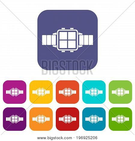 Modern smart watch icons set vector illustration in flat style in colors red, blue, green, and other