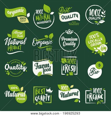 Set of stickers and badges for organic food and drink, restaurant, food store, natural products, farm fresh food,  e-commerce, healthy product promotion.