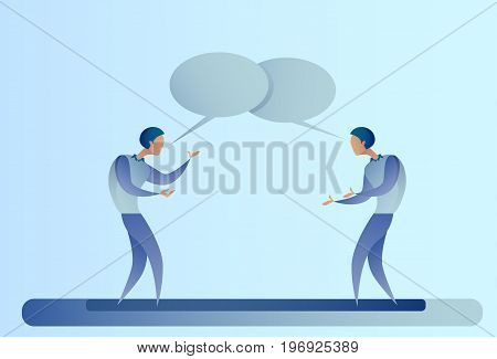 Two Abstract Businessman Talking Chat Box Bubble Communication Concept, Business Man Vector Illustration