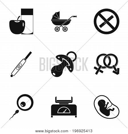 Pregnancy symbols icons set. Simple set of 9 pregnancy symbols vector icons for web isolated on white background