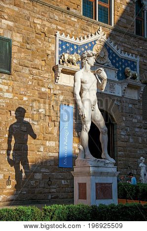 Florence, Italy - May 14, 2013. Close-up of the Michelangelo's David statue in front of the Palazzo Vecchio at sunset in Florence, the famous and amazing capital of the Italian Renaissance. Tuscany region