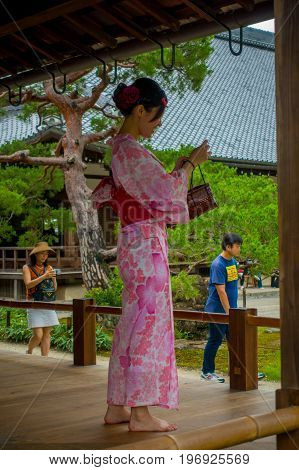 KYOTO, JAPAN - JANUARY 18: The Hojo Hall of Tenryu-ji on January 18, 2017 in the Arashiyama district of Kyoto. Translation of text: abbey.