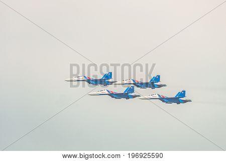BELGOROD RUSSIA - JULY 15 2017: Russian military jet fighters su-30 sm Flanker-C. Flight of the aerobatics group