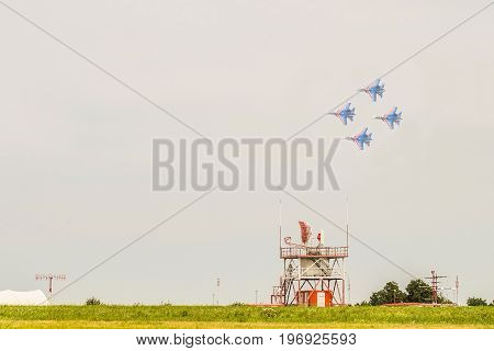 BELGOROD, RUSSIA - JULY 15, 2017: Russian military jet fighters su-30 sm Flanker-C. Overflight of the flying group