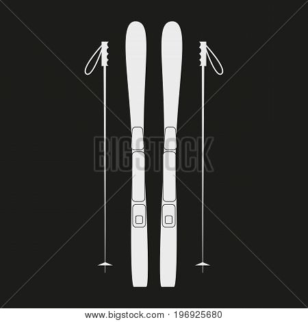 White ski icon on black background. Winter sports equipment. Vector illustration.