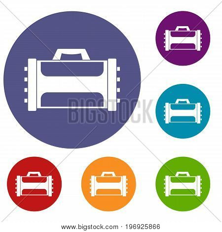 Welding machine icons set in flat circle red, blue and green color for web