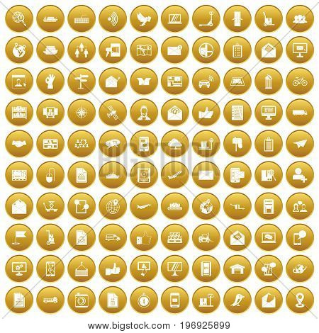 100 post and mail icons set in gold circle isolated on white vector illustration