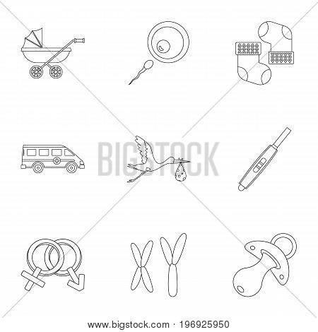 Baby ambulance icons set. Outline set of 9 baby ambulance vector icons for web isolated on white background