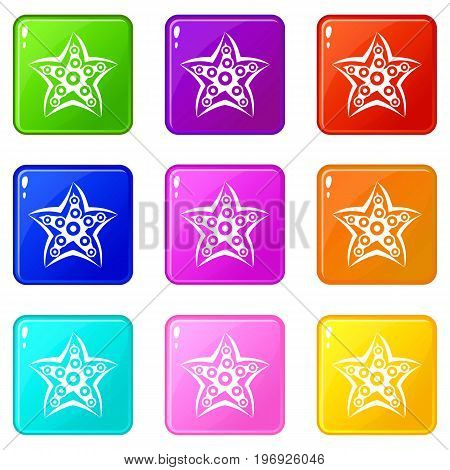 Starfish icons of 9 color set isolated vector illustration
