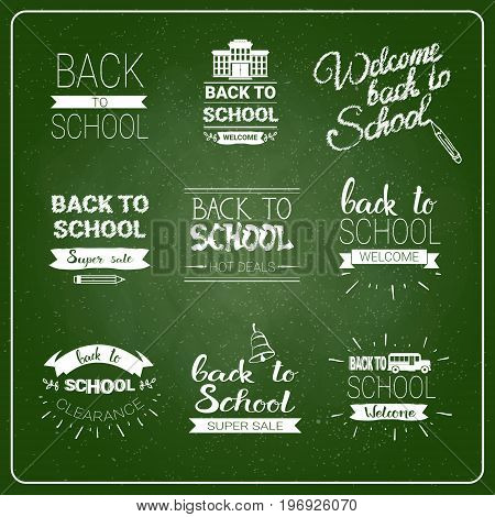 Back To School Chalked Label On Green Board Background Vector Illustration
