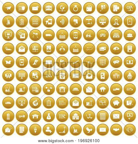 100 postal service icons set in gold circle isolated on white vector illustration