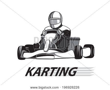 Racer in the kart in black and white color / Karting, Icon, Winner. Flat design, vector illustration