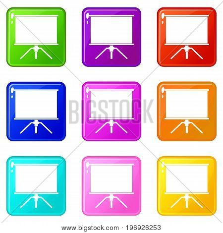 Blank projection screen icons of 9 color set isolated vector illustration
