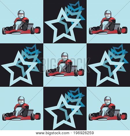 Karting. Pattern. Decor from the stars and karts on the blue background. Flat design, vector illustration