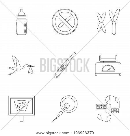 Pregnancy icons set. Outline set of 9 pregnancy vector icons for web isolated on white background