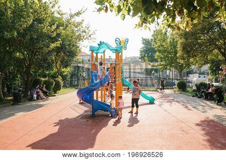 Istanbul, June 14, 2017: Open playground in Istanbul, Turkey. Sports development of children. Children's games and friendship