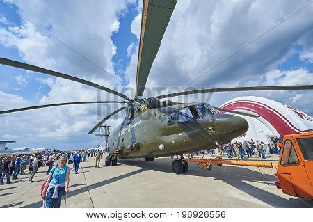 ZHUKOVSKY, RUSSIA, JUL. 21, 2017: Aerospace aircraft exhibition MAKS 2017. The biggest single rotor Russian helicopter Mi-26T2 for transport and rescue purposes. World biggest transport helicopter