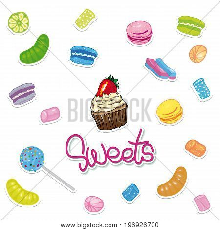 Sweet candies set in shape of circle with assorted colorful lollipops isolated vector illustration