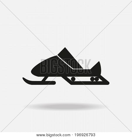 Black snowmobile on white background. Winter sports equipment. Vector illustration.