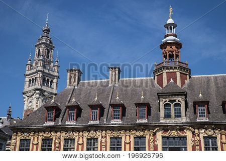 A view of the magnificent architecture of Vieille Bourse and the belfry of the Chamber of Commerce and industry in Lille France.