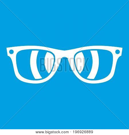 Sunglasses icon white isolated on blue background vector illustration