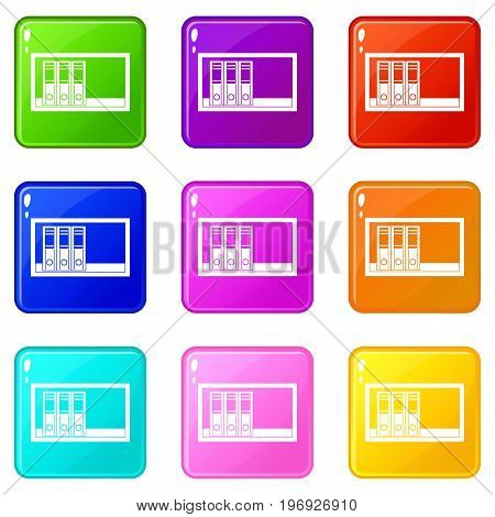 Office folders on the shelf icons of 9 color set isolated vector illustration