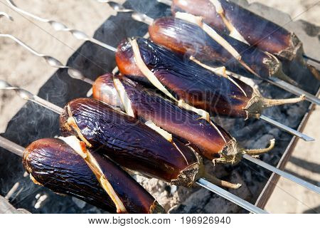 Grilled eggplants BBQ open fire fresh air weekend