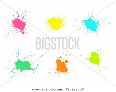 Grunge paint stains set. Ink splatter design elements. Spray splashes collection. Liquid stains isolated. Abstract vector illustration.