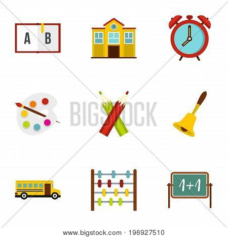 Primary school icons set. Flat set of 9 primary school vector icons for web isolated on white background