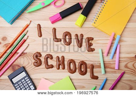 I Love School written by chocolate cookies alphabet with supplies