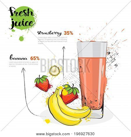 Banana Strawberry Mix Cocktail Of Fresh Juice Hand Drawn Watercolor Fruits And Glass On White Background Vector Illustration