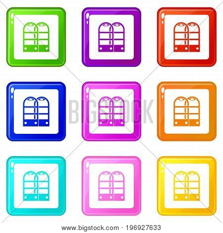 Shop security anti theft sensor gates icons of 9 color set isolated vector illustration
