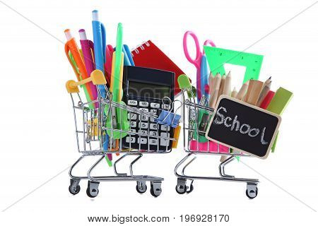 Shopping Carts With School Supplies Isolated On A White